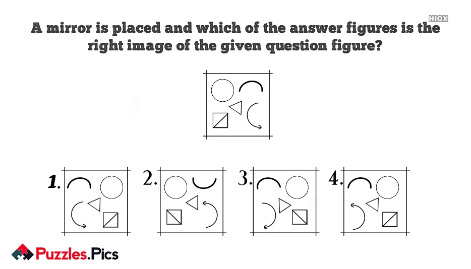 A Mirror is Placed and Which Of The Answer Figures is The Right Image Of The Given Question Figure?