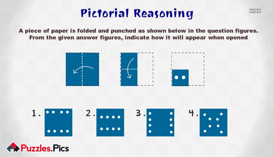 A Piece Of Paper is Folded and Punched As Shown Below In The Question Figures. From The Given Answer Figures, Indicate How It Will Appear When Opened