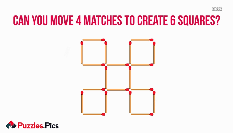 Can You Move 4 Matches To Create 6 Squares?