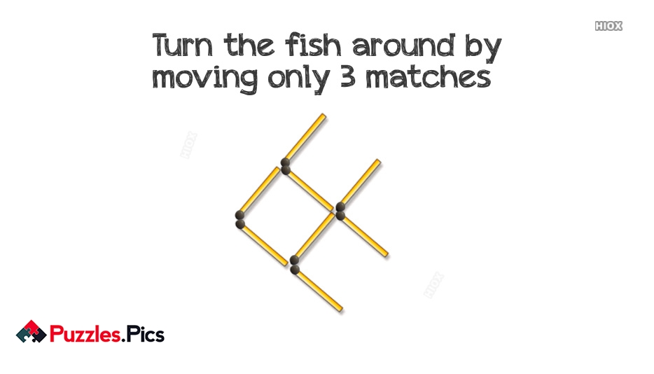 Fish Matchstick Puzzle Move 3 Matches To Turn The Fish Around