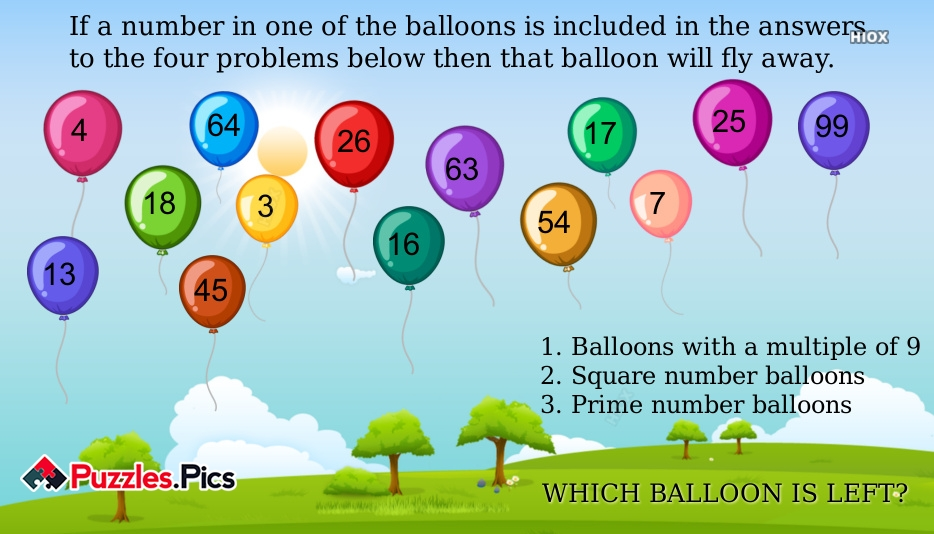 If A Number In One Of The Balloons is Included In The Answers To The