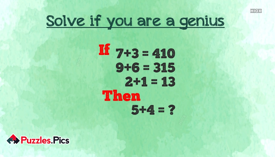 Solve If You Are Genius Puzzles