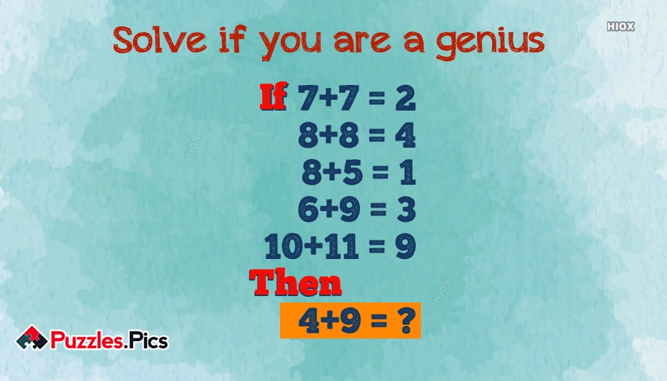 Solve If You Are Genius Puzzle