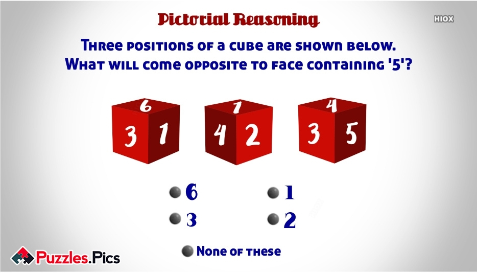 Three Positions Of A Cube Are Shown Below. What Will Come Opposite To Face Containing