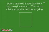 Divide A Square Into 5 Parts Such That 4 Parts Among Them Are Equal