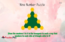 Nine Number Puzzle - Place The Numbers 1 To 9 In The Hexagons In Such