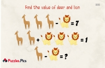 Picture Logic Puzzle - Find The Value Of Deer And Lion?