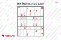 Printable 9x9 Sudoku Hard Level Puzzle