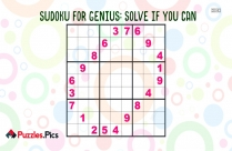 SudoKu For Genius: Solve If You Can