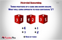 Three Positions Of A Cube Are Shown Below. What Will Come Opposite To Face