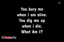 You Bury Me When I Am Alive. You Dig Me Up When I Die