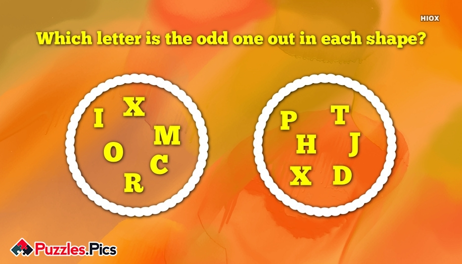 Which Letter is The Odd One Out In Each Shape?