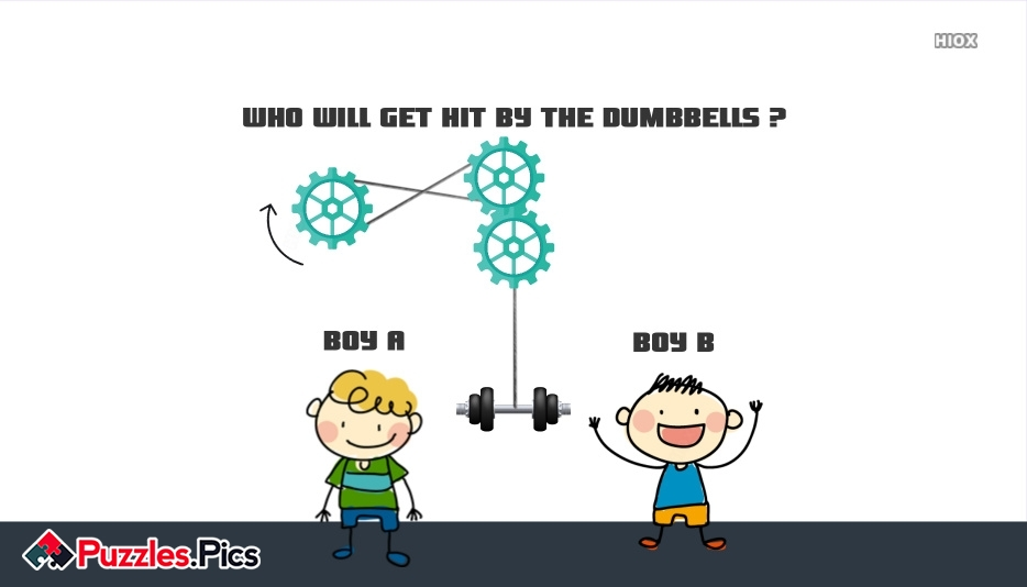 Who Will Get Hit By The Dumbbells Puzzle